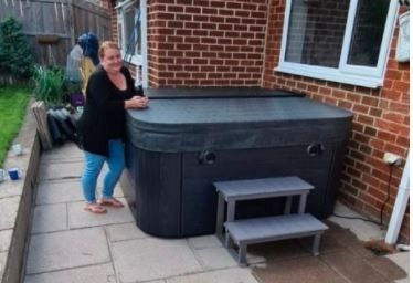 Penny with Her New Hot Tub - www.seasidehottubs.co.uk